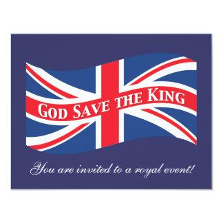 """Reserva de dios el rey con Union Jack Invitación 4.25"""" X 5.5"""""""