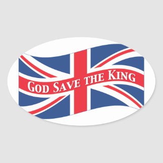 Reserva de dios el rey con Union Jack Pegatina Ovalada
