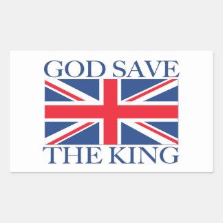 Reserva de dios el rey con Union Jack Pegatina Rectangular