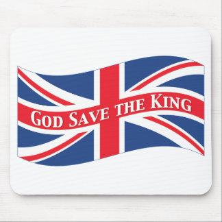Reserva de dios el rey con Union Jack Tapete De Ratones