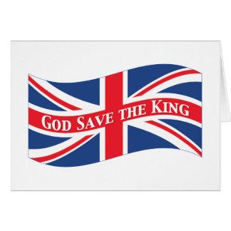 Reserva de dios el rey con Union Jack Tarjetas