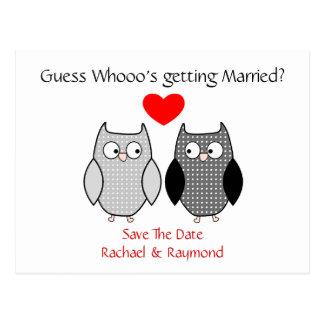 Reserva de encargo del boda de los búhos lindos la tarjeta postal