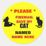 Reserva de encargo del bombero mi gato pegatina redonda