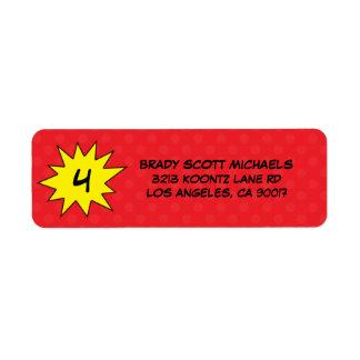 Reserva de encargo del rojo el super héroe del día etiquetas de remite