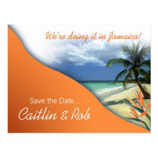 Reserva de Jamaica la fecha (naranja de la papaya) Tarjeta Postal
