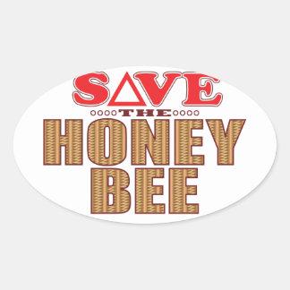 Reserva de la abeja de la miel pegatina ovalada