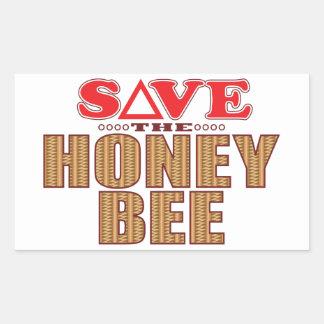 Reserva de la abeja de la miel pegatina rectangular