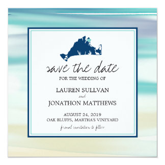"""Reserva de la acuarela del océano del Martha's Invitación 5.25"""" X 5.25"""""""