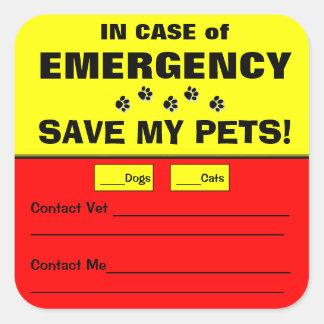 Reserva de la alarma de la emergencia mis pegatina cuadrada