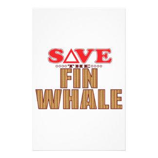 Reserva de la ballena de aleta papelería