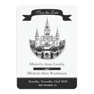 """Reserva de la catedral la fecha blanco y negro invitación 5"""" x 7"""""""
