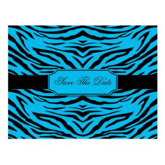 Reserva de la cebra del negro azul la fecha postal