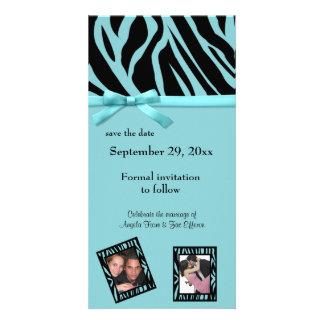Reserva de la cebra del trullo la invitación de la tarjetas personales con fotos