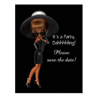 Reserva de la diva de la mujer la fecha postal
