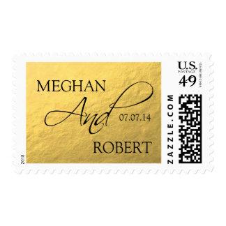 Reserva de la elegancia de la hoja de oro la fecha timbres postales