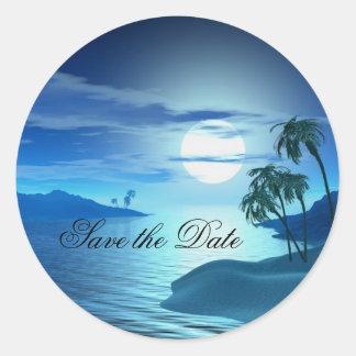 reserva de la ensenada de la isla la fecha pegatina redonda