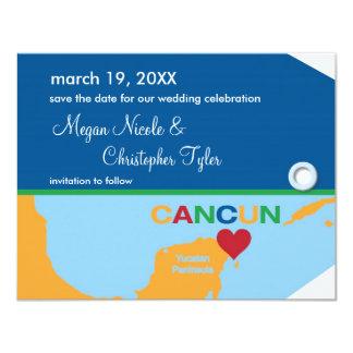 """Reserva de la etiqueta del equipaje de Cancun la Invitación 4.25"""" X 5.5"""""""