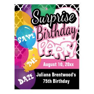 Reserva de la fiesta de cumpleaños de la sorpresa postales