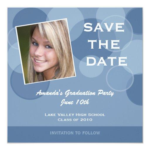 """Reserva de la fiesta de graduación de la foto la invitación 5.25"""" x 5.25"""""""