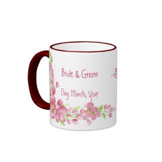 Reserva de la flor de cerezo del vintage el boda taza de dos colores