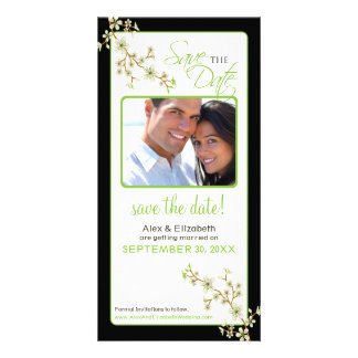 Reserva de la flor de cerezo la fecha Photocard m Plantilla Para Tarjeta De Foto