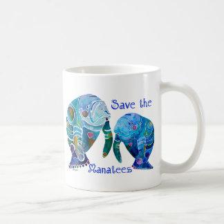 Reserva de la Florida los Manatees en azules vivos Taza Clásica