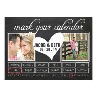 Reserva de la foto de la pizarra el calendario de invitaciones personales