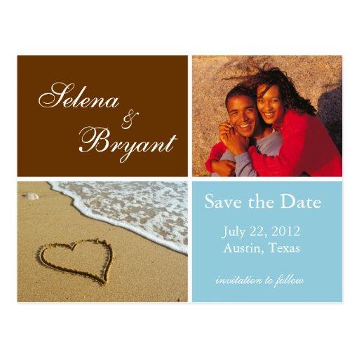 Reserva de la foto de la playa la fecha - azul tarjetas postales
