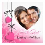 Reserva de la foto de los Heartstrings el rosa de  Invitacion Personalizada