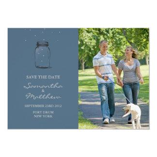 Reserva de la foto del tarro de albañil la tarjeta invitación 12,7 x 17,8 cm