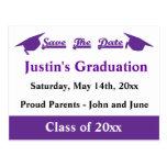 Reserva de la graduación la púrpura de la fecha postales