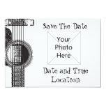 Reserva de la guitarra acústica la fecha invitación 12,7 x 17,8 cm