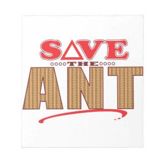 Reserva de la hormiga libreta para notas