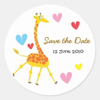 Reserva de la jirafa el pegatina de la fecha
