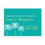Reserva de la moda del boda del verano de las palm postal