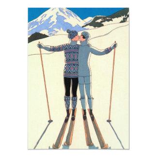 """Reserva de la nieve de los esquís del beso del invitación 5"""" x 7"""""""