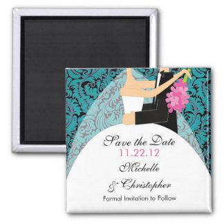 Reserva de la novia y del novio del damasco el imán cuadrado