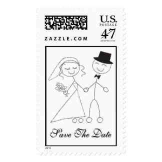 Reserva de la novia y del novio del dibujo animado sello postal