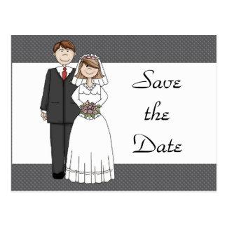 Reserva de la novia y del novio del vintage la tarjeta postal