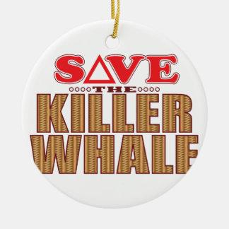 Reserva de la orca adorno navideño redondo de cerámica