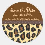 Reserva de la piel del leopardo la fecha etiquetas redondas
