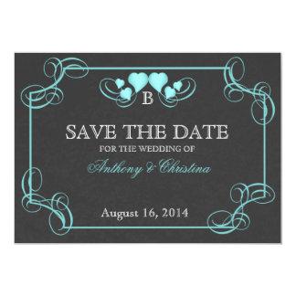 Reserva de la pizarra del vintage la fecha invitacion personalizada