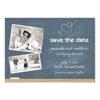 Reserva de la pizarra la fecha con las fotos invitación 12,7 x 17,8 cm