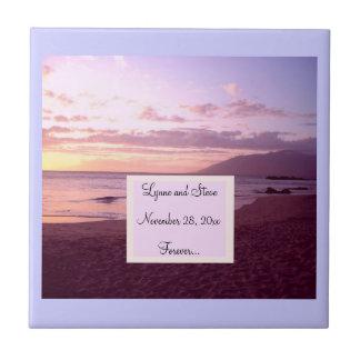 Reserva de la playa de la puesta del sol la fecha tejas