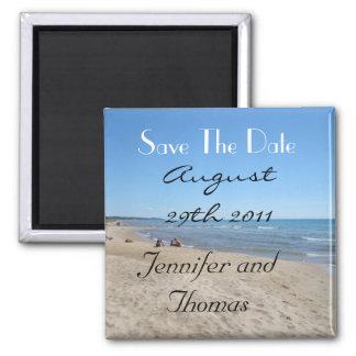 Reserva de la playa la fecha imán de frigorífico