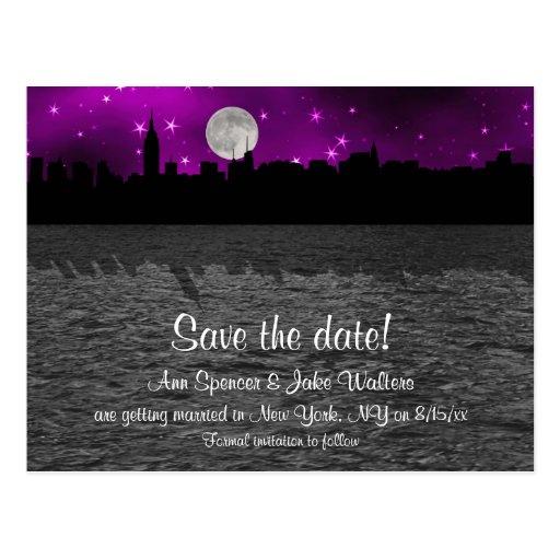 Reserva de la púrpura de la luna de la silueta del tarjeta postal