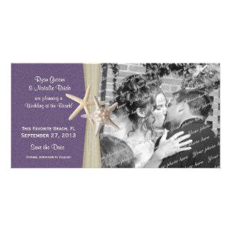 Reserva de la púrpura del boda de playa la foto de tarjetas fotograficas