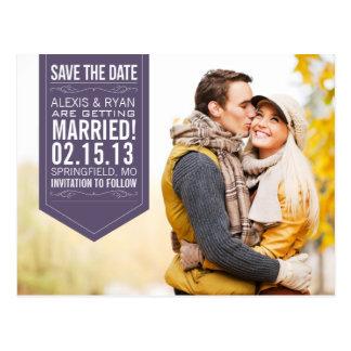 Reserva de la púrpura la fecha postales