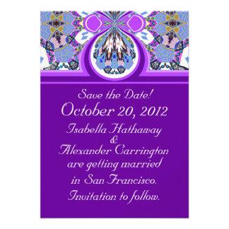 Reserva de la púrpura la tarjeta de la invitación