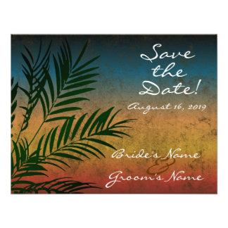 Reserva de la rama de palmera de la puesta del sol invitaciones personalizada
